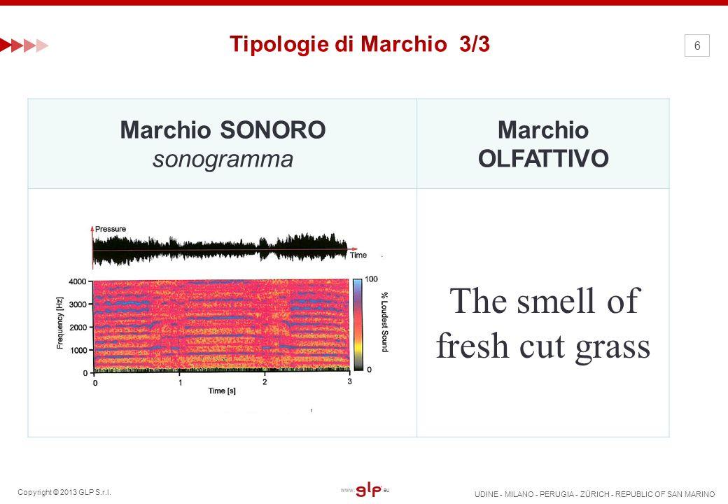 Copyright © 2013 GLP S.r.l. UDINE - MILANO - PERUGIA - ZÜRICH - REPUBLIC OF SAN MARINO www..eu 6 Marchio SONORO sonogramma Marchio OLFATTIVO The smell
