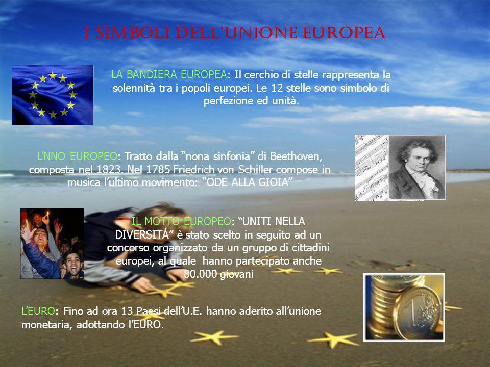 LA BANDIERA EUROPEA: Il cerchio di stelle rappresenta la solennità tra i popoli europei.