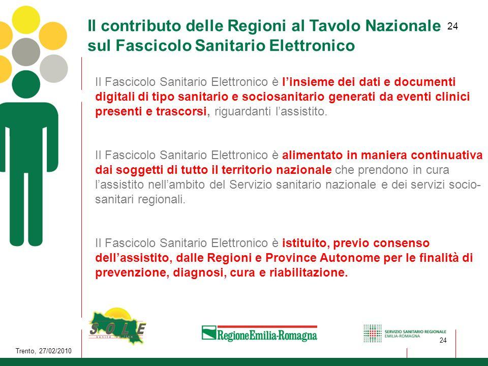 24 Trento, 27/02/2010 24 Il contributo delle Regioni al Tavolo Nazionale sul Fascicolo Sanitario Elettronico Il Fascicolo Sanitario Elettronico è lins