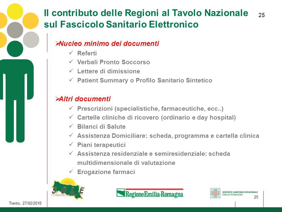 25 Trento, 27/02/2010 25 Il contributo delle Regioni al Tavolo Nazionale sul Fascicolo Sanitario Elettronico Nucleo minimo dei documenti Referti Verba