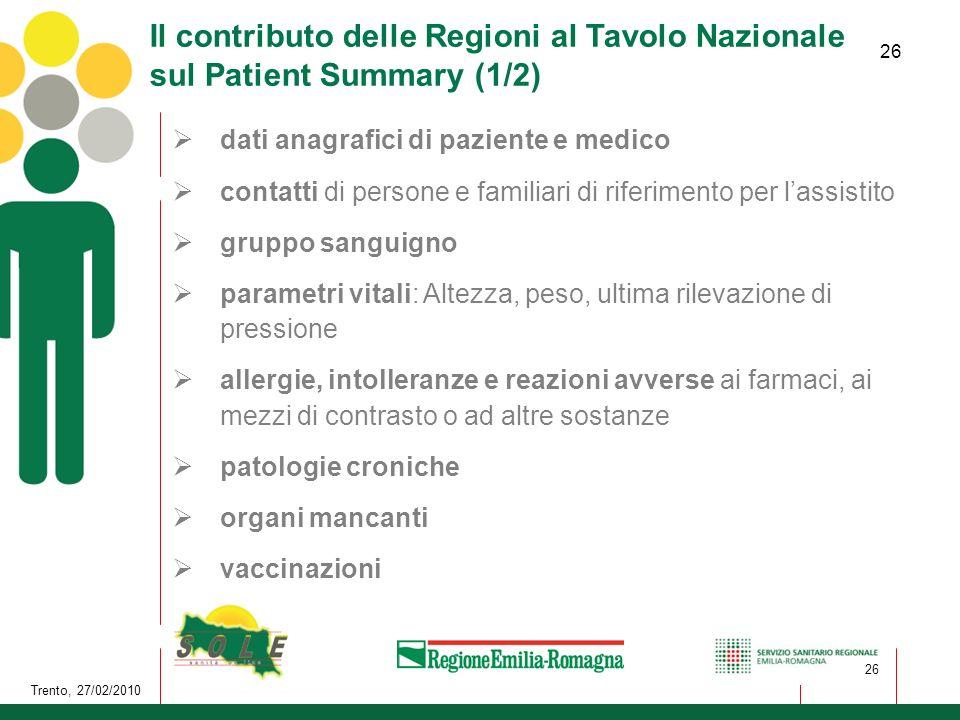 26 Trento, 27/02/2010 26 Il contributo delle Regioni al Tavolo Nazionale sul Patient Summary (1/2) dati anagrafici di paziente e medico contatti di pe