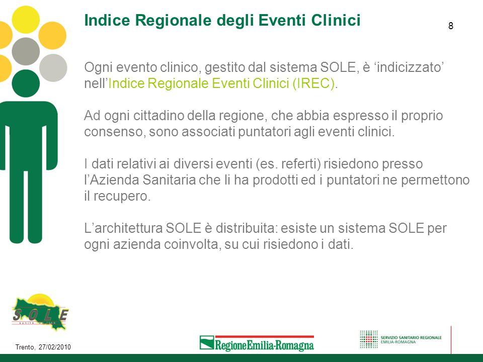 Trento, 27/02/2010 8 Indice Regionale degli Eventi Clinici Ogni evento clinico, gestito dal sistema SOLE, è indicizzato nellIndice Regionale Eventi Cl