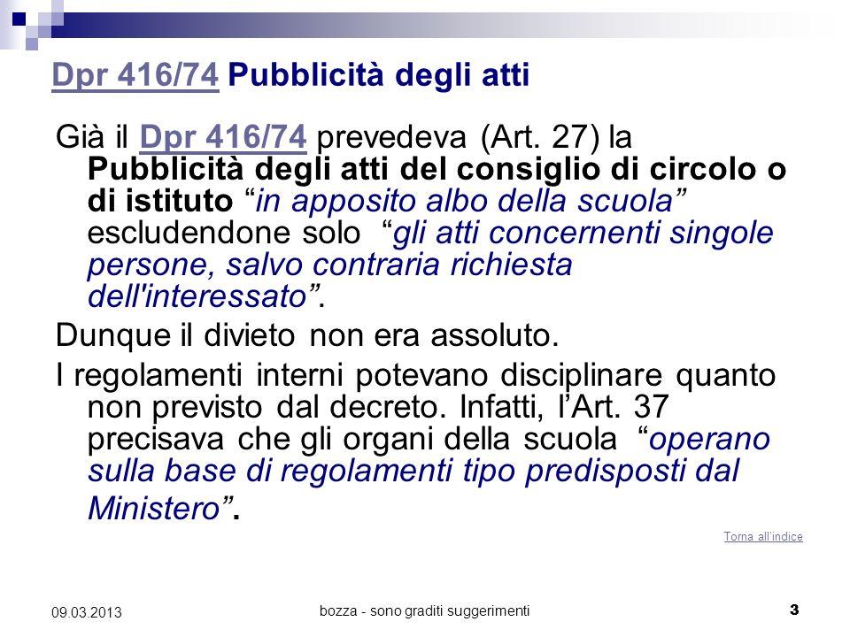 bozza - sono graditi suggerimenti 09.03.2013 4.05.2011 CM 105/75CM 105/75 Regolamento tipo Il regolamento tipo predisposto dal Ministero, la CM 105/75, ha quindi previsto allArt.