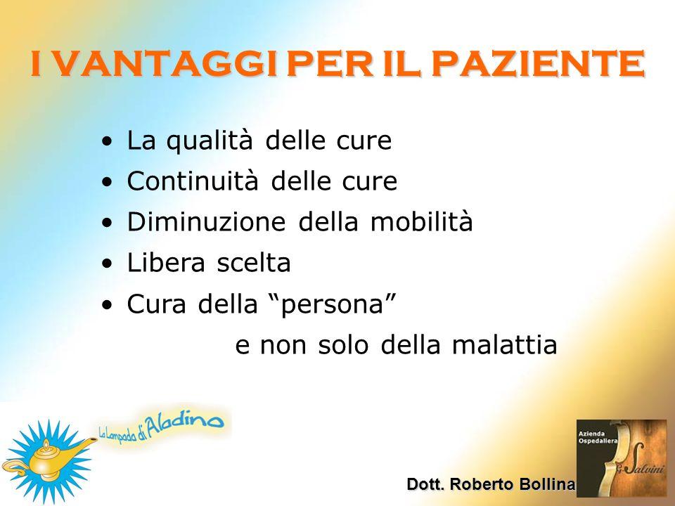 I VANTAGGI PER IL PAZIENTE Dott. Roberto Bollina La qualità delle cure Continuità delle cure Diminuzione della mobilità Libera scelta Cura della perso