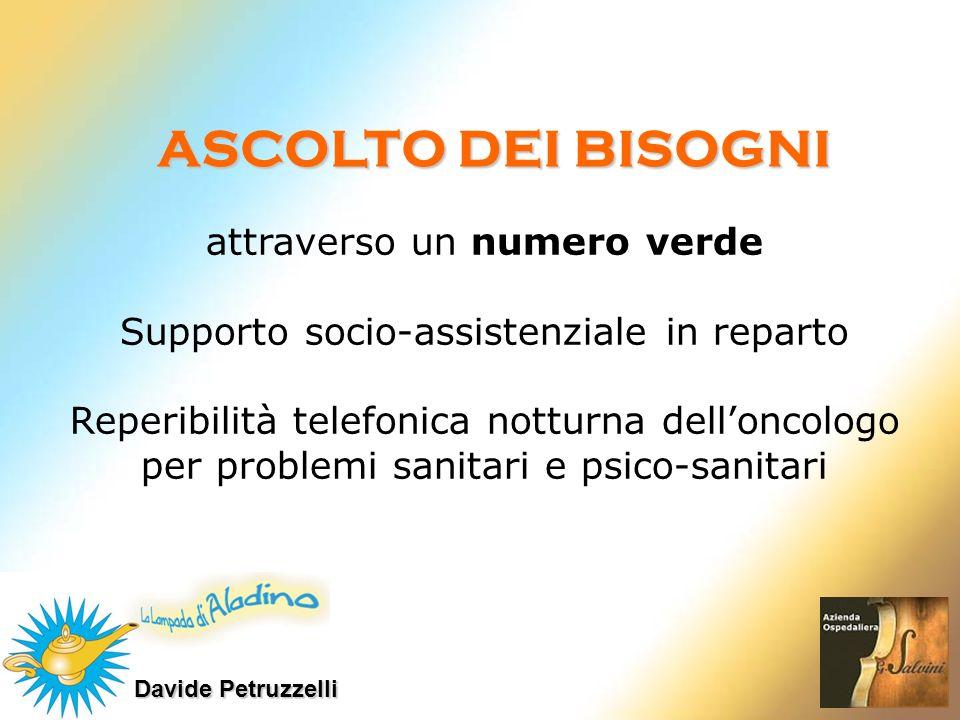 Davide Petruzzelli attraverso un numero verde Supporto socio-assistenziale in reparto Reperibilità telefonica notturna delloncologo per problemi sanit