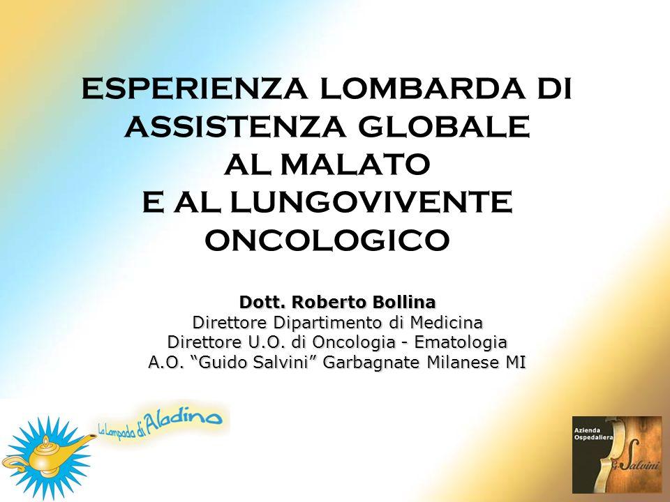 ESPERIENZA LOMBARDA DI ASSISTENZA GLOBALE AL MALATO E AL LUNGOVIVENTE ONCOLOGICO Dott. Roberto Bollina Direttore Dipartimento di Medicina Direttore U.