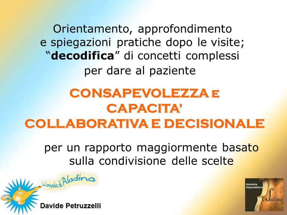 Orientamento, approfondimento e spiegazioni pratiche dopo le visite; decodifica di concetti complessi per dare al paziente CONSAPEVOLEZZA e CAPACITA C