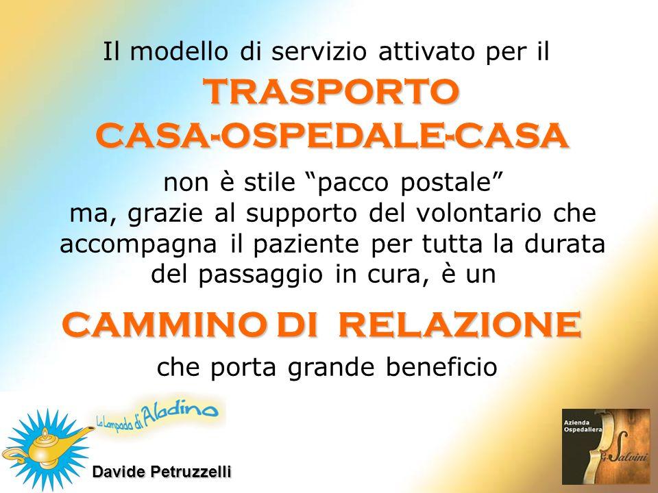 Davide Petruzzelli Il modello di servizio attivato per il TRASPORTOCASA-OSPEDALE-CASA non è stile pacco postale ma, grazie al supporto del volontario