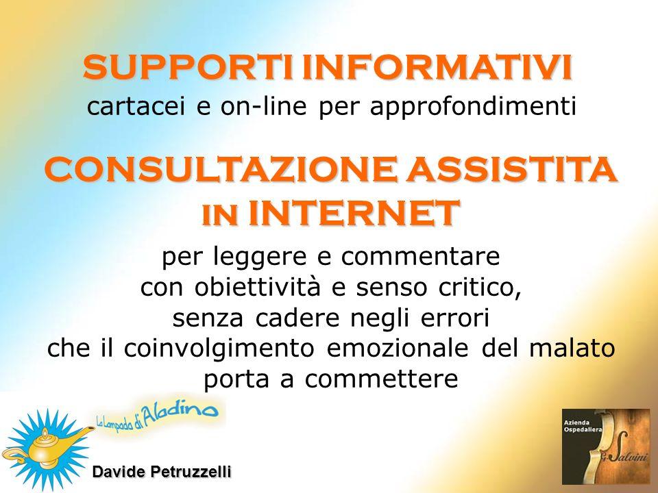 Davide Petruzzelli SUPPORTI INFORMATIVI cartacei e on-line per approfondimenti CONSULTAZIONE ASSISTITA in INTERNET per leggere e commentare con obiett