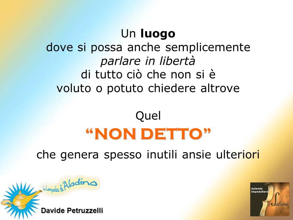 Davide Petruzzelli NON DETTO Un luogo dove si possa anche semplicemente parlare in libertà di tutto ciò che non si è voluto o potuto chiedere altrove
