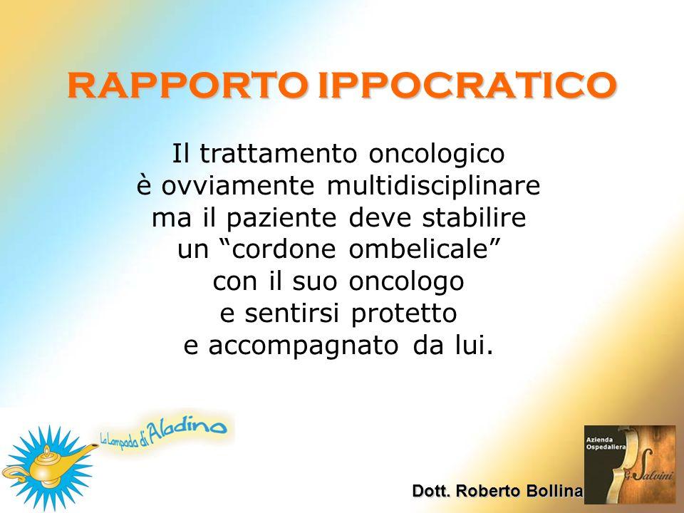 RAPPORTO IPPOCRATICO Dott. Roberto Bollina Il trattamento oncologico è ovviamente multidisciplinare ma il paziente deve stabilire un cordone ombelical