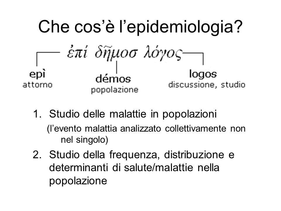 Che cosè lepidemiologia? 1.Studio delle malattie in popolazioni (levento malattia analizzato collettivamente non nel singolo) 2.Studio della frequenza