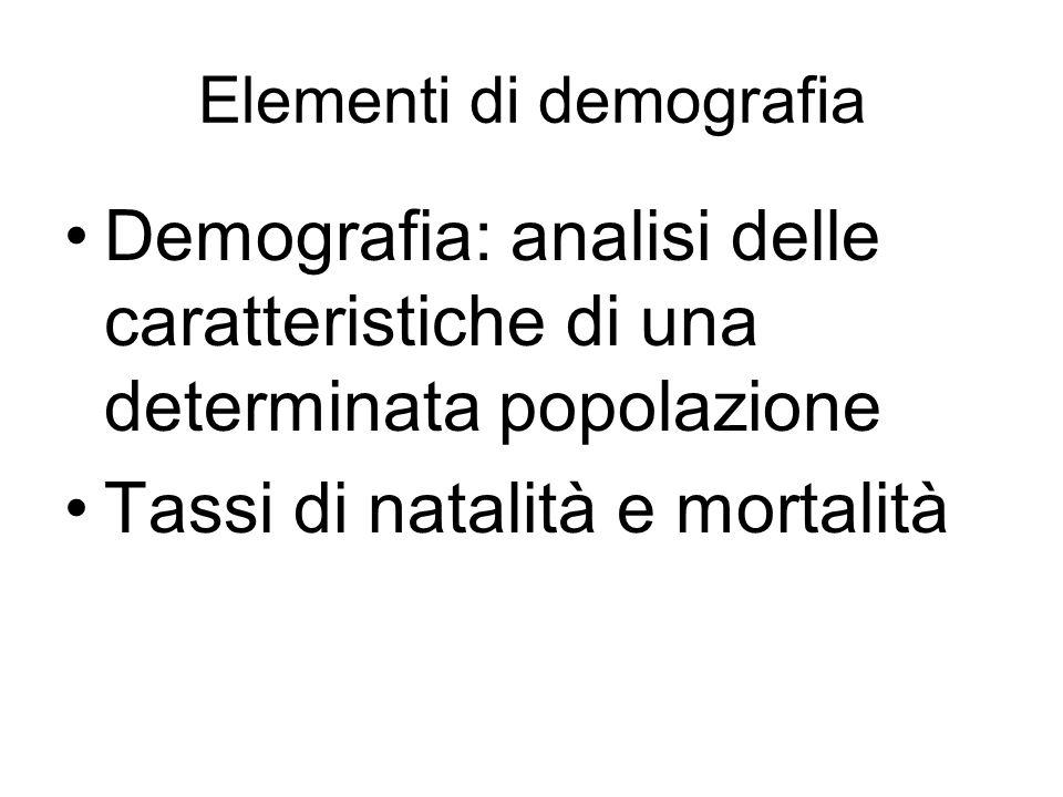 Elementi di demografia Demografia: analisi delle caratteristiche di una determinata popolazione Tassi di natalità e mortalità
