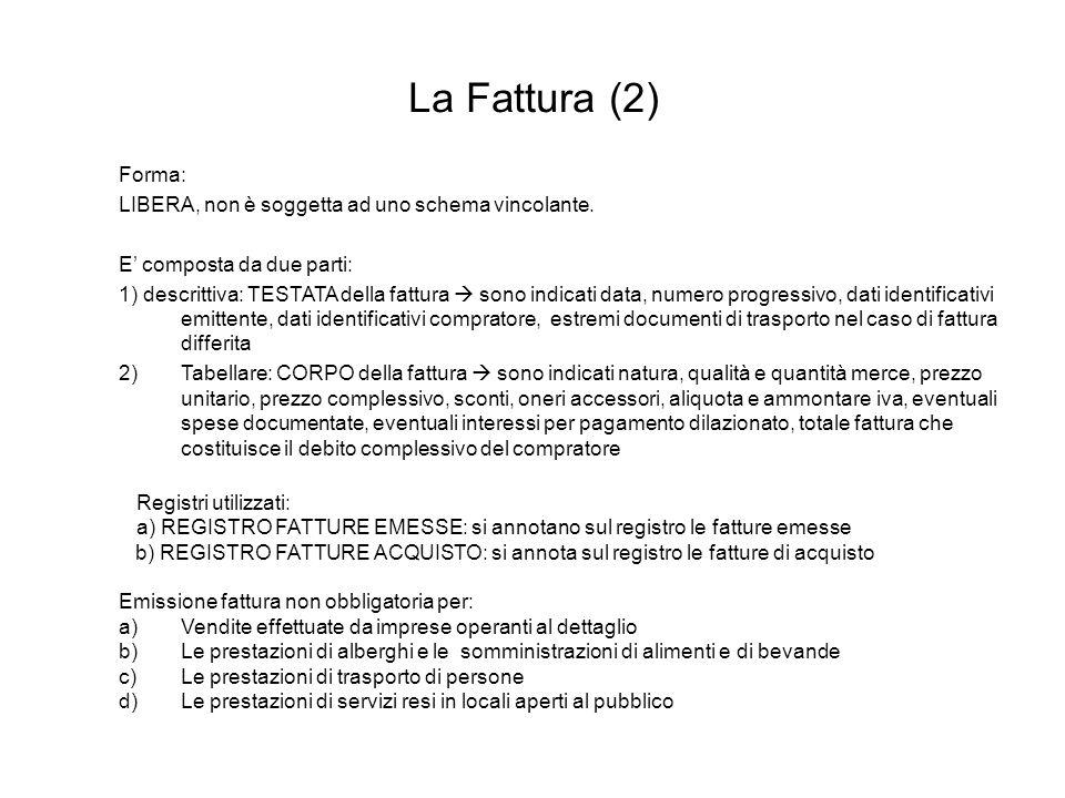 La Fattura (2) Forma: LIBERA, non è soggetta ad uno schema vincolante.