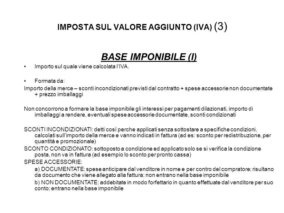 IMPOSTA SUL VALORE AGGIUNTO (IVA) (3) BASE IMPONIBILE (I) Importo sul quale viene calcolata lIVA.