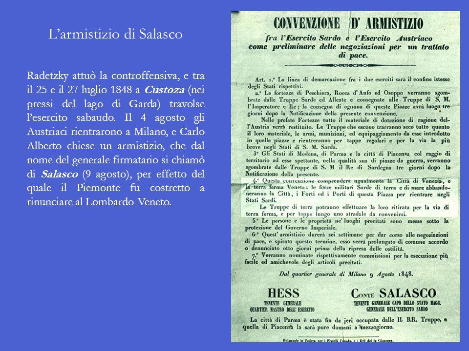 La Repubblica di san Marco Il 17 marzo 1848, ossia il giorno prima che iniziassero le Cinque giornate di Milano, la città di Venezia insorse e cacciò