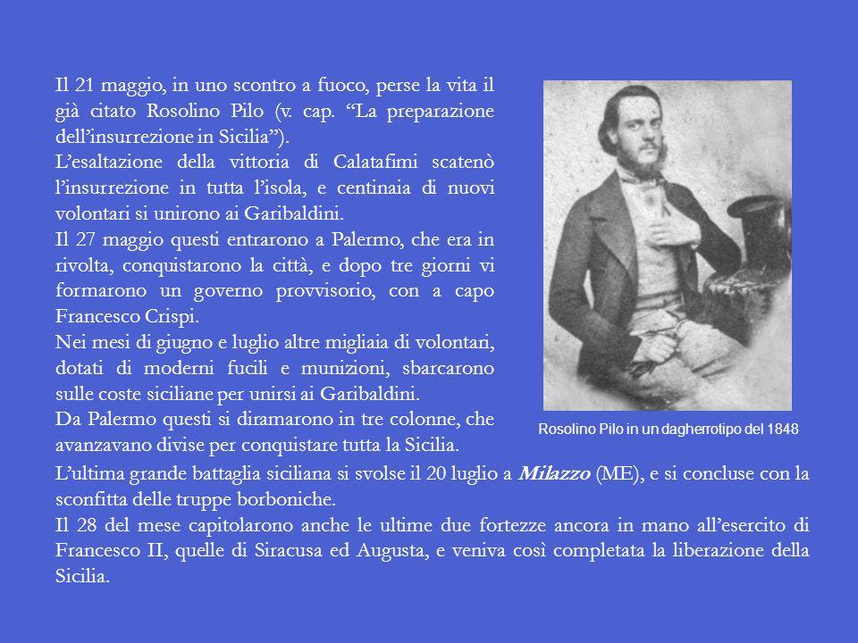 Il 14 maggio a Salemi (TP) Giuseppe Garibaldi dichiarò di assumere la dittatura della Sicilia in nome di Vittorio Emanuele II. Il giorno dopo, a Calat