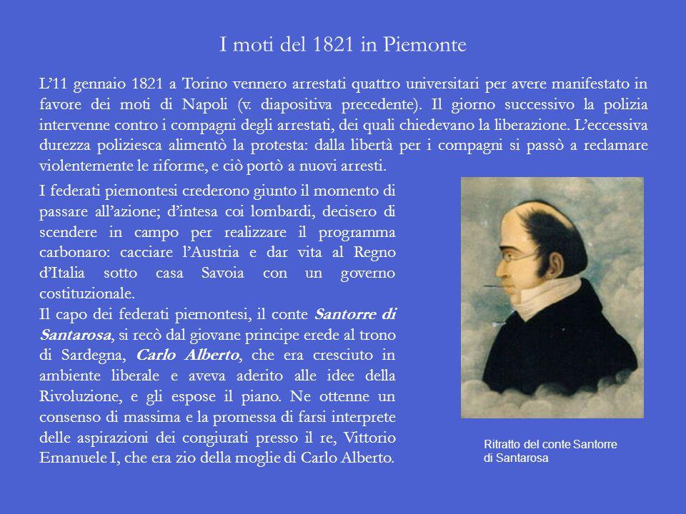 I moti del 1821 in Piemonte L11 gennaio 1821 a Torino vennero arrestati quattro universitari per avere manifestato in favore dei moti di Napoli (v.