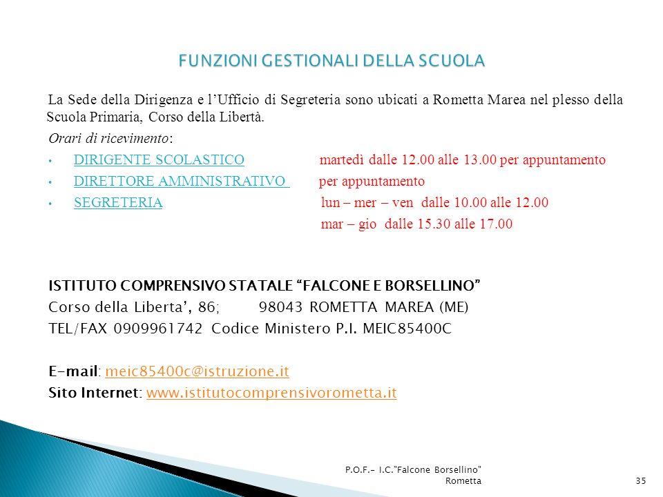La Sede della Dirigenza e lUfficio di Segreteria sono ubicati a Rometta Marea nel plesso della Scuola Primaria, Corso della Libertà. Orari di ricevime