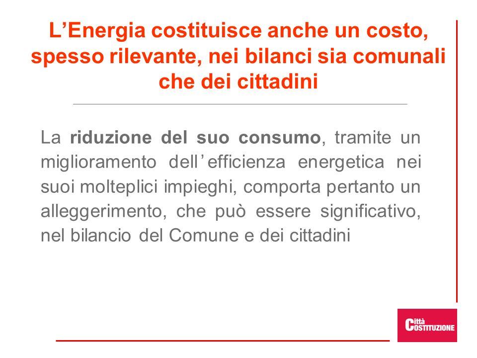 LEnergia costituisce anche un costo, spesso rilevante, nei bilanci sia comunali che dei cittadini La riduzione del suo consumo, tramite un miglioramento dellefficienza energetica nei suoi molteplici impieghi, comporta pertanto un alleggerimento, che può essere significativo, nel bilancio del Comune e dei cittadini