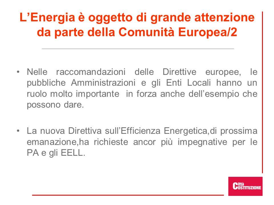 LEnergia è oggetto di grande attenzione da parte della Comunità Europea/2 Nelle raccomandazioni delle Direttive europee, le pubbliche Amministrazioni e gli Enti Locali hanno un ruolo molto importante in forza anche dellesempio che possono dare.