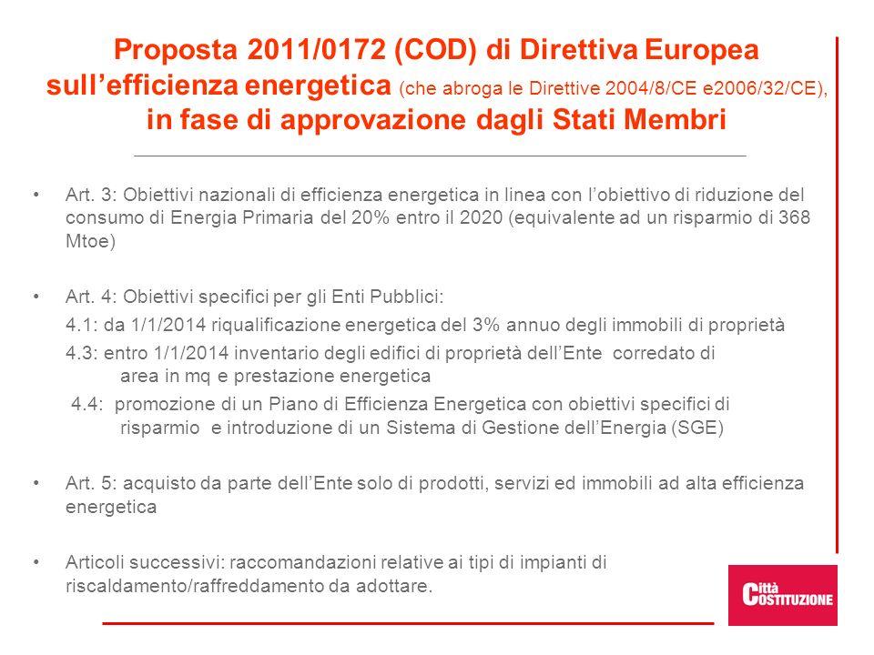 Proposta 2011/0172 (COD) di Direttiva Europea sullefficienza energetica (che abroga le Direttive 2004/8/CE e2006/32/CE), in fase di approvazione dagli Stati Membri Art.