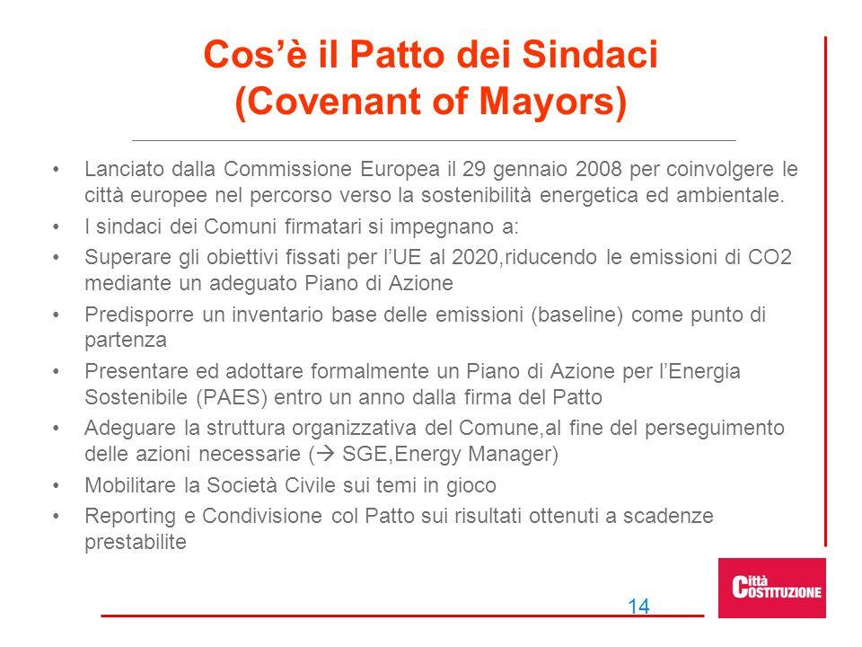 14 Cosè il Patto dei Sindaci (Covenant of Mayors) Lanciato dalla Commissione Europea il 29 gennaio 2008 per coinvolgere le città europee nel percorso verso la sostenibilità energetica ed ambientale.