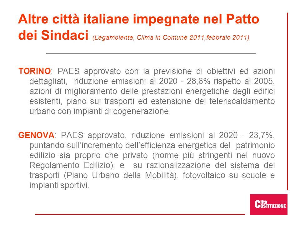 Altre città italiane impegnate nel Patto dei Sindaci (Legambiente, Clima in Comune 2011,febbraio 2011) TORINO: PAES approvato con la previsione di obi