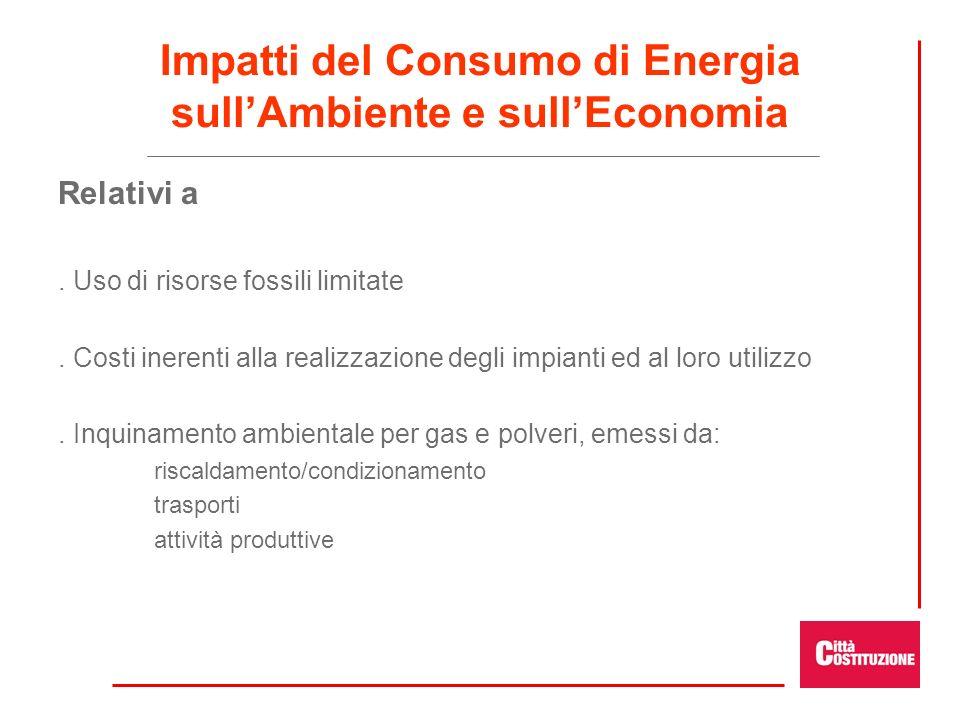 Impatti del Consumo di Energia sullAmbiente e sullEconomia Relativi a. Uso di risorse fossili limitate. Costi inerenti alla realizzazione degli impian