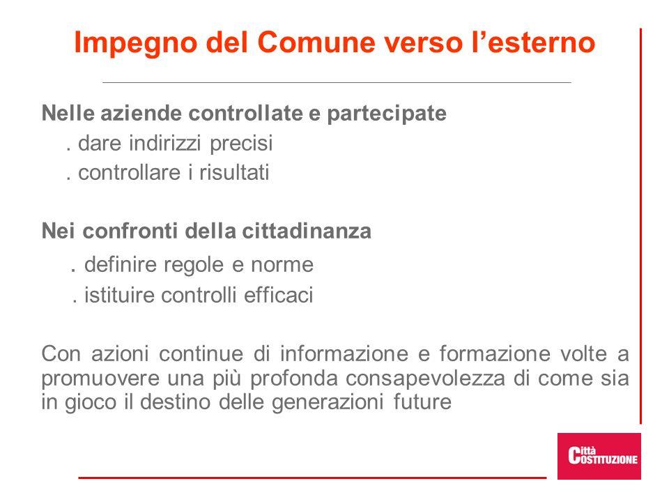 Impegno del Comune verso lesterno Nelle aziende controllate e partecipate. dare indirizzi precisi. controllare i risultati Nei confronti della cittadi