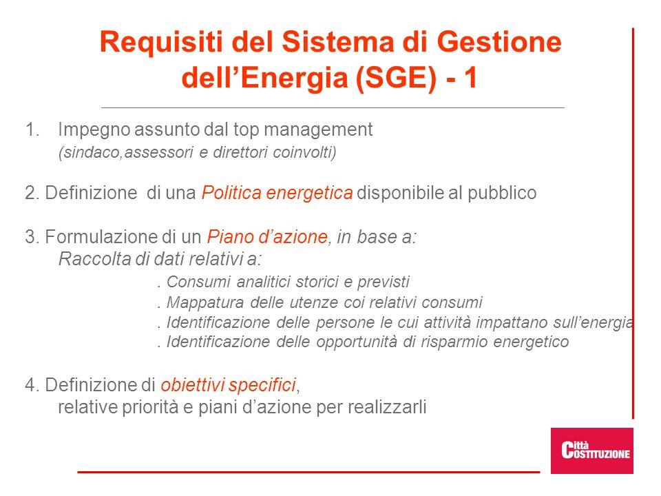Requisiti del Sistema di Gestione dellEnergia (SGE) - 1 1. 1.Impegno assunto dal top management (sindaco,assessori e direttori coinvolti) 2. Definizio