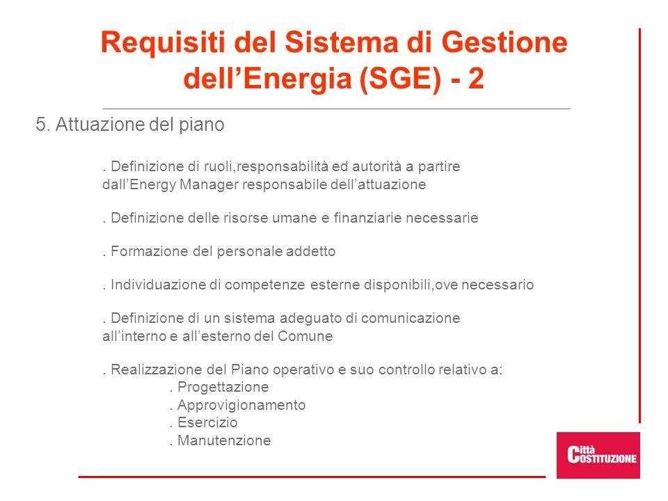 5. Attuazione del piano. Definizione di ruoli,responsabilità ed autorità a partire dallEnergy Manager responsabile dellattuazione. Definizione delle r
