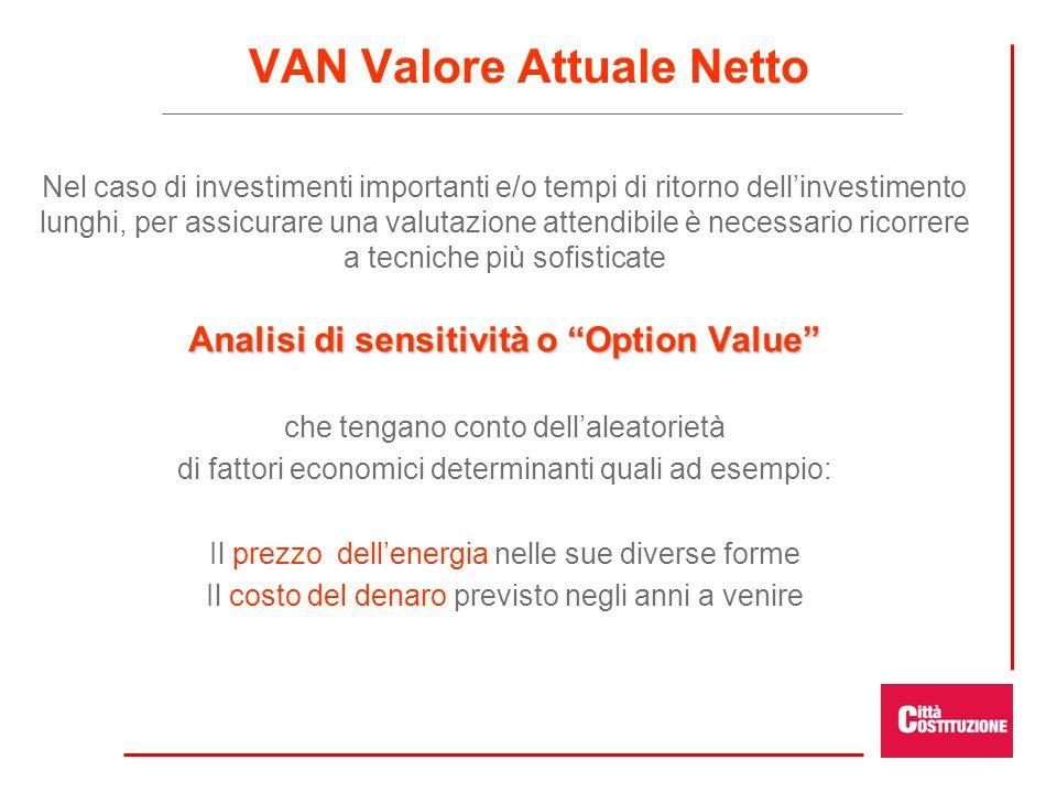 VAN Valore Attuale Netto Nel caso di investimenti importanti e/o tempi di ritorno dellinvestimento lunghi, per assicurare una valutazione attendibile