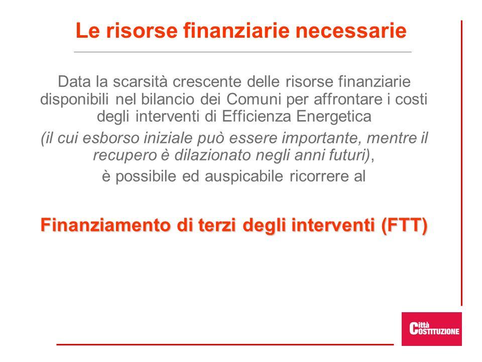 Le risorse finanziarie necessarie Data la scarsità crescente delle risorse finanziarie disponibili nel bilancio dei Comuni per affrontare i costi degl