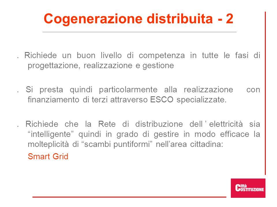 Cogenerazione distribuita - 2. Richiede un buon livello di competenza in tutte le fasi di progettazione, realizzazione e gestione. Si presta quindi pa
