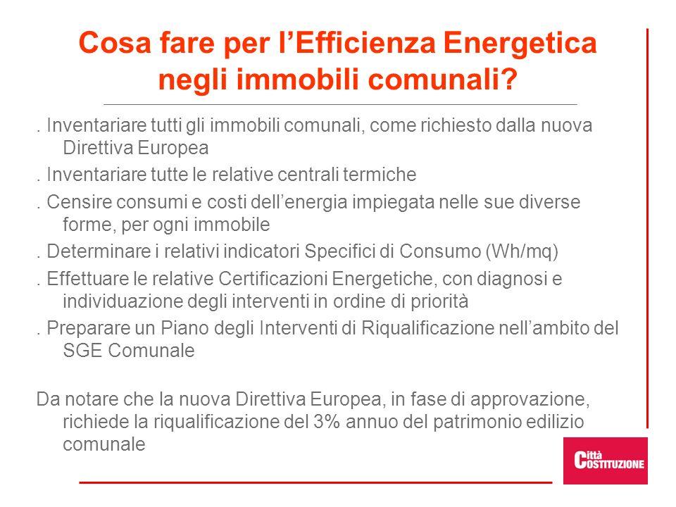 Cosa fare per lEfficienza Energetica negli immobili comunali?. Inventariare tutti gli immobili comunali, come richiesto dalla nuova Direttiva Europea.