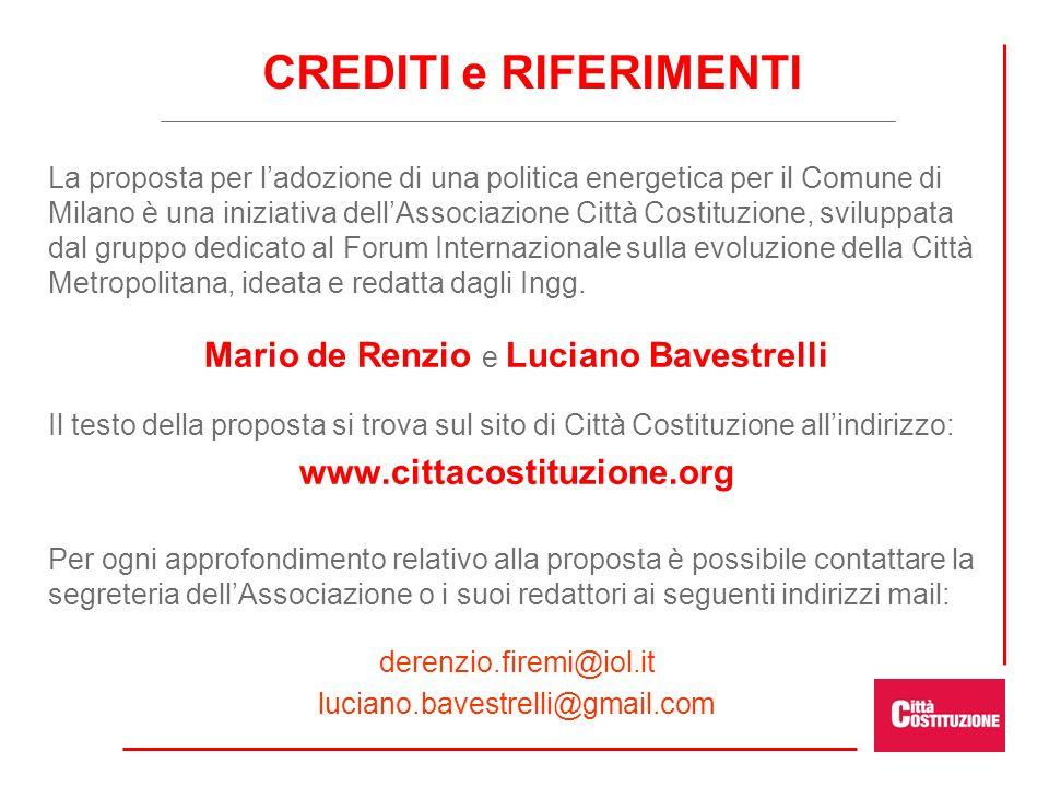La proposta per ladozione di una politica energetica per il Comune di Milano è una iniziativa dellAssociazione Città Costituzione, sviluppata dal grup