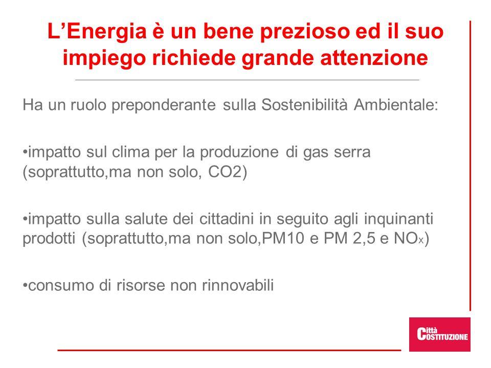 LEnergia è un bene prezioso ed il suo impiego richiede grande attenzione Ha un ruolo preponderante sulla Sostenibilità Ambientale: impatto sul clima per la produzione di gas serra (soprattutto,ma non solo, CO2) impatto sulla salute dei cittadini in seguito agli inquinanti prodotti (soprattutto,ma non solo,PM10 e PM 2,5 e NO x ) consumo di risorse non rinnovabili