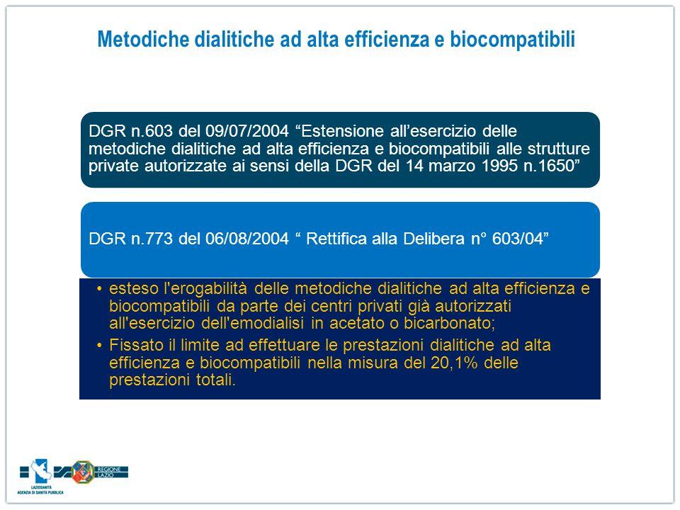 Metodiche dialitiche ad alta efficienza e biocompatibili DGR n.603 del 09/07/2004 Estensione allesercizio delle metodiche dialitiche ad alta efficienz