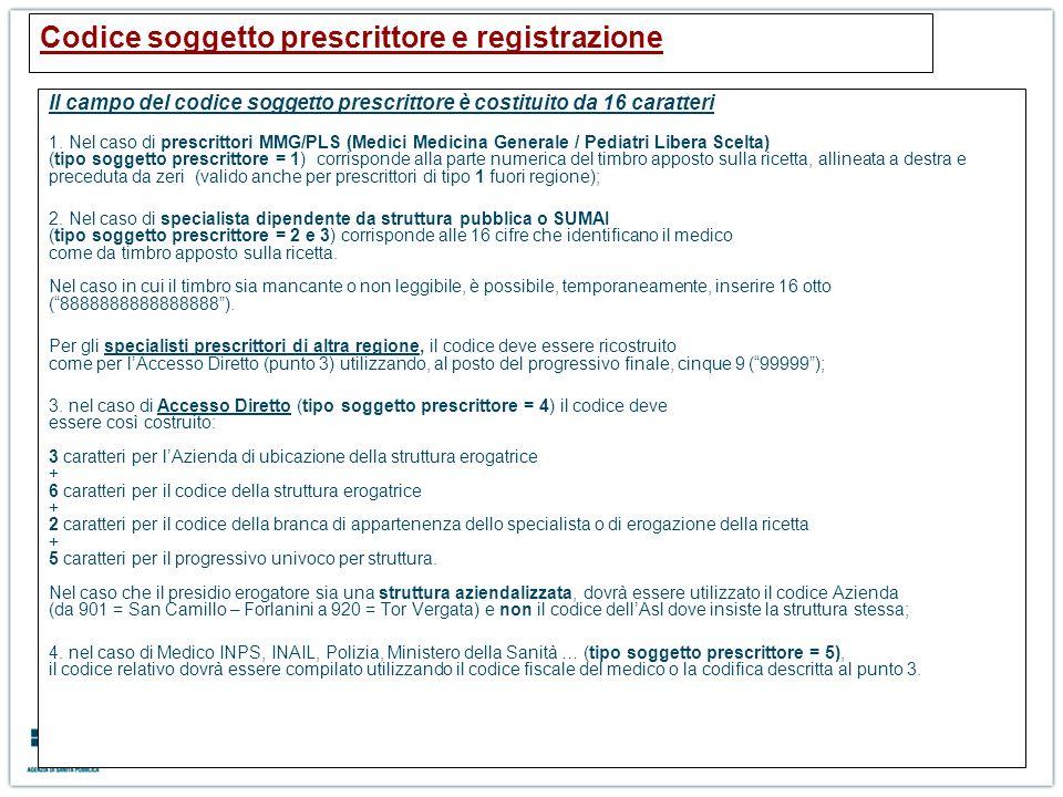 Codice soggetto prescrittore e registrazione Il campo del codice soggetto prescrittore è costituito da 16 caratteri 1. Nel caso di prescrittori MMG/PL