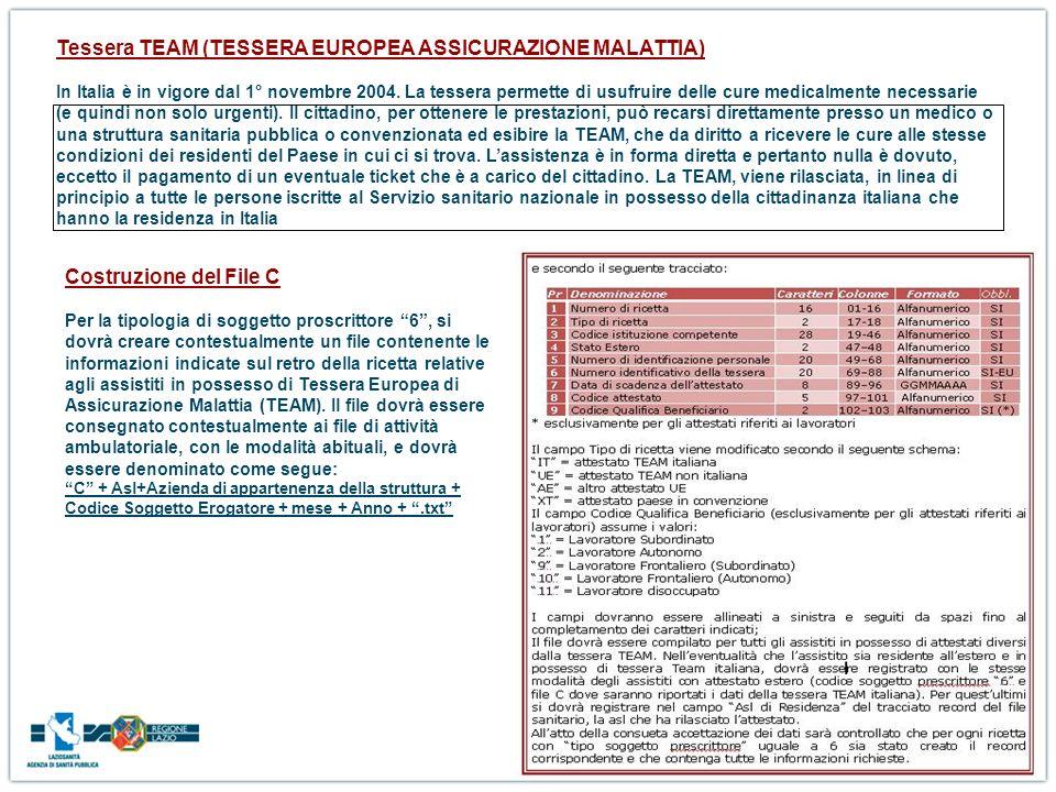 Tessera TEAM (TESSERA EUROPEA ASSICURAZIONE MALATTIA) In Italia è in vigore dal 1° novembre 2004. La tessera permette di usufruire delle cure medicalm