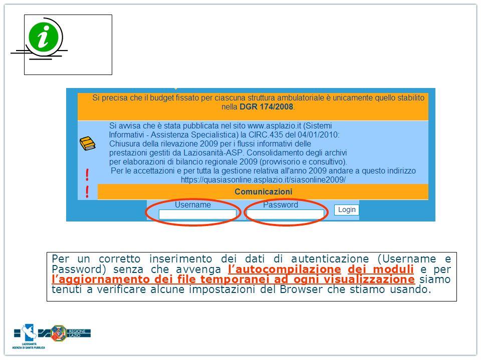 Per un corretto inserimento dei dati di autenticazione (Username e Password) senza che avvenga lautocompilazione dei moduli e per laggiornamento dei f