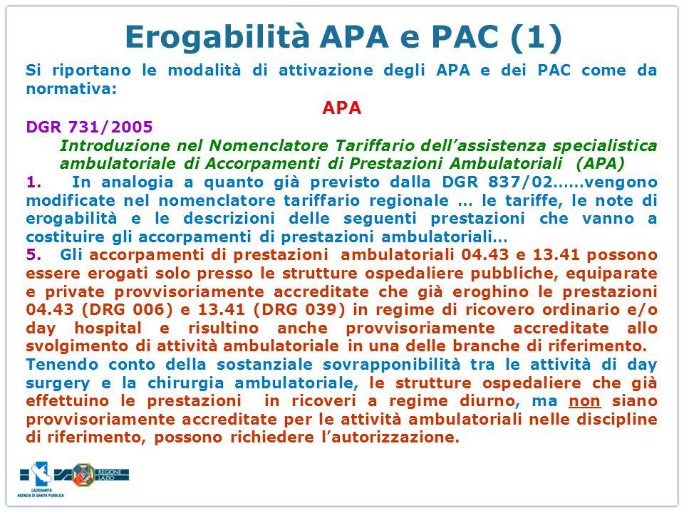 Erogabilità APA e PAC (1) Si riportano le modalità di attivazione degli APA e dei PAC come da normativa: APA DGR 731/2005 Introduzione nel Nomenclator