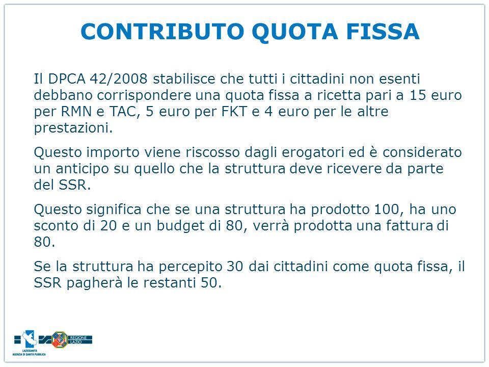 CONTRIBUTO QUOTA FISSA Il DPCA 42/2008 stabilisce che tutti i cittadini non esenti debbano corrispondere una quota fissa a ricetta pari a 15 euro per