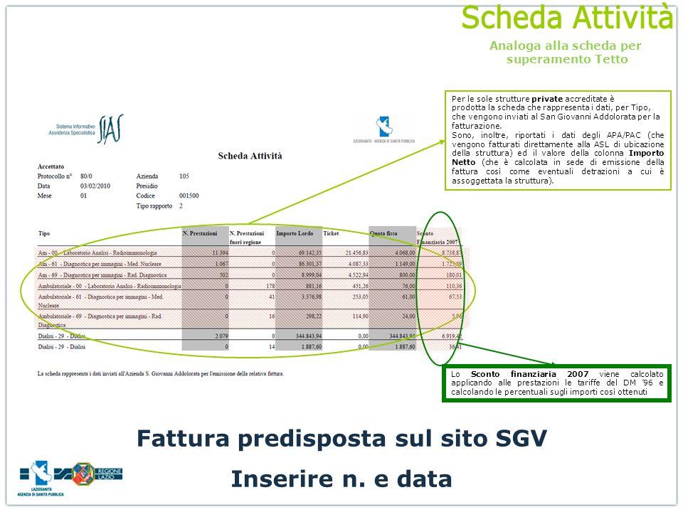 Per le sole strutture private accreditate è prodotta la scheda che rappresenta i dati, per Tipo, che vengono inviati al San Giovanni Addolorata per la