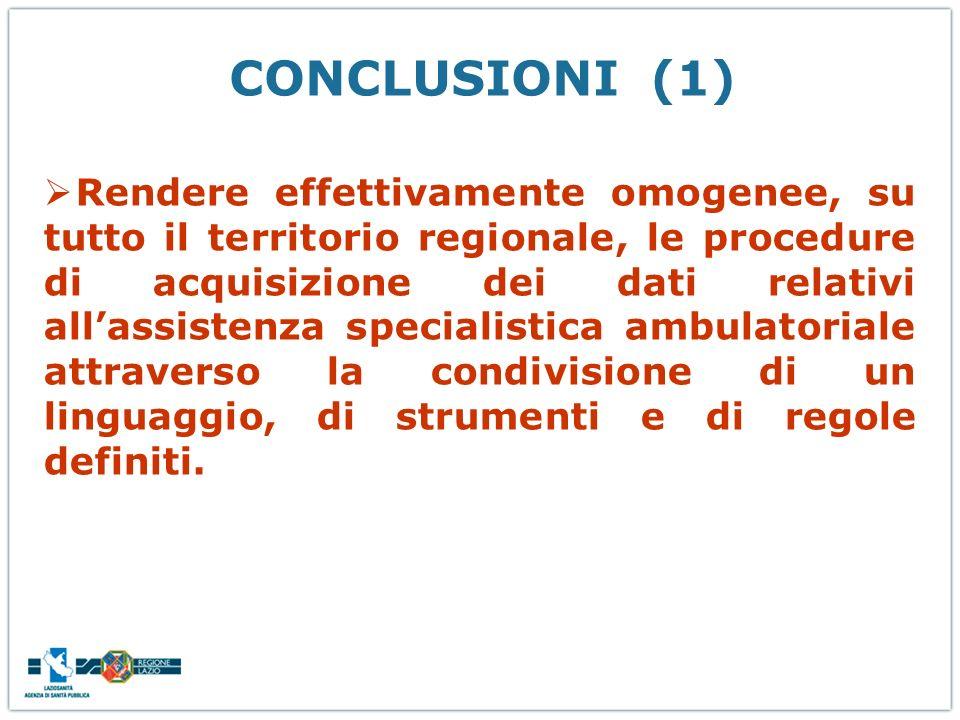 CONCLUSIONI (1) Rendere effettivamente omogenee, su tutto il territorio regionale, le procedure di acquisizione dei dati relativi allassistenza specia