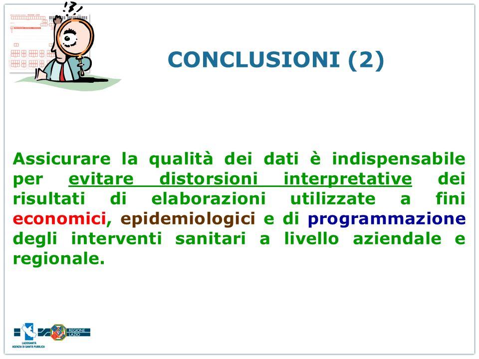 CONCLUSIONI (2) Assicurare la qualità dei dati è indispensabile per evitare distorsioni interpretative dei risultati di elaborazioni utilizzate a fini