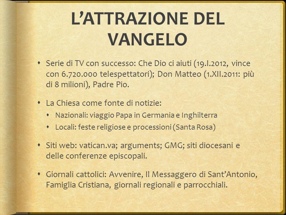 LATTRAZIONE DEL VANGELO Serie di TV con successo: Che Dio ci aiuti (19.I.2012, vince con 6.720.000 telespettatori); Don Matteo (1.XII.2011: più di 8 m