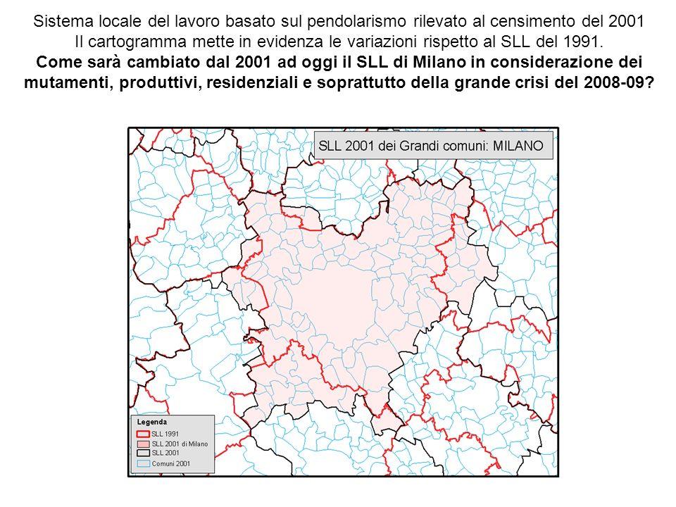 Sistema locale del lavoro basato sul pendolarismo rilevato al censimento del 2001 Il cartogramma mette in evidenza le variazioni rispetto al SLL del 1991.