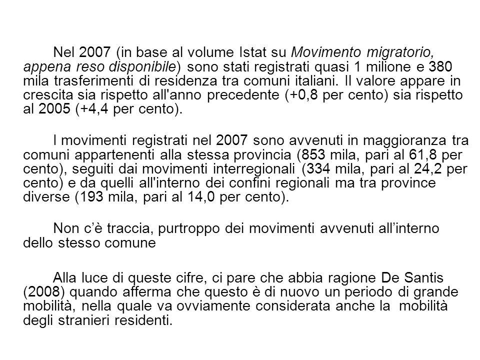 Nel 2007 (in base al volume Istat su Movimento migratorio, appena reso disponibile) sono stati registrati quasi 1 milione e 380 mila trasferimenti di residenza tra comuni italiani.